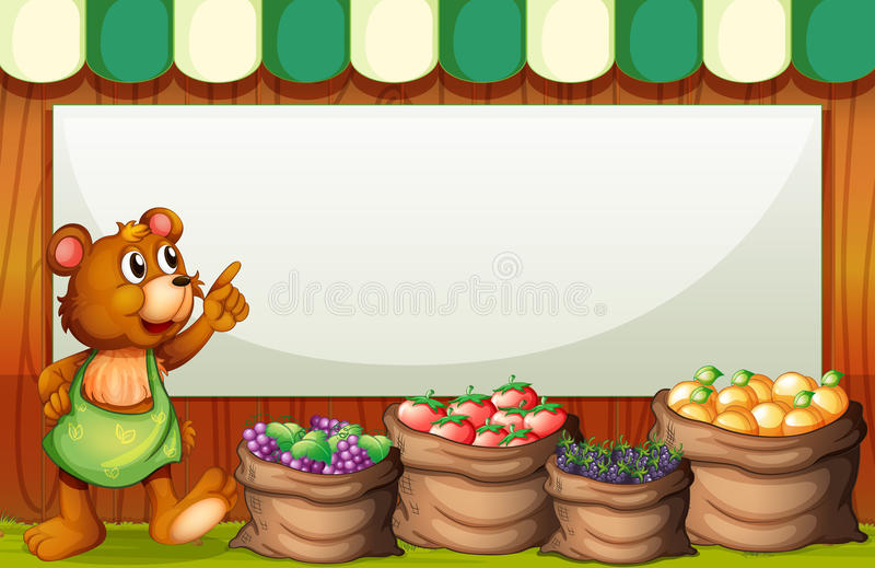 An empty rectangular template with a bear selling fruits vector illustration