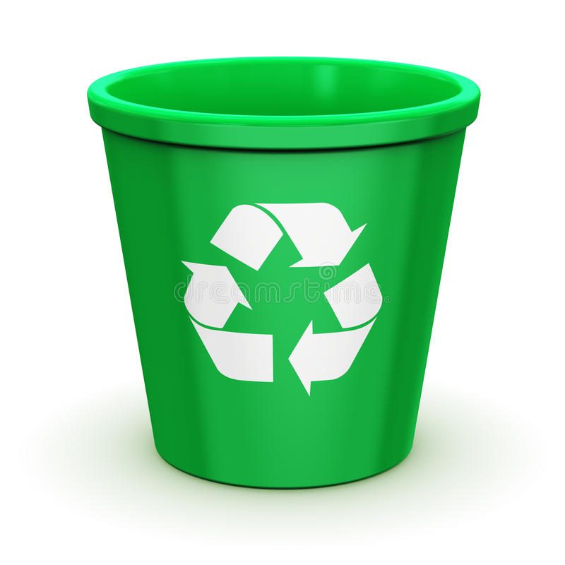 Empty recycle bin. Creative abstract paper recycling, environment protection and nature saving business concept: empty green office recycle bin with recyclable stock illustration