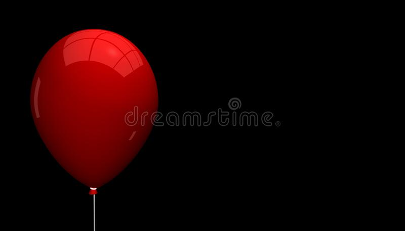 Empty Red Balloon With Light Reflections - Isolated On Black Background royalty free stock images