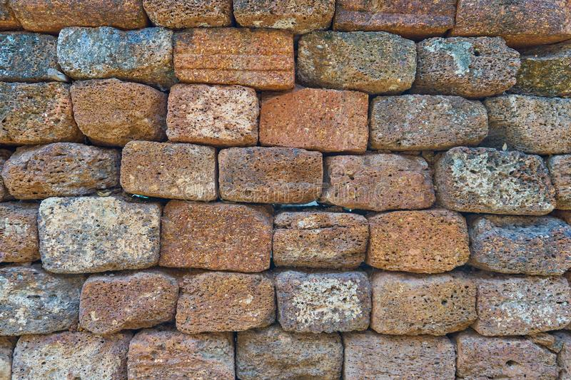 Empty Red Brick Wall, Cracked Concrete Vintage Old Brick Wall Background royalty free stock image