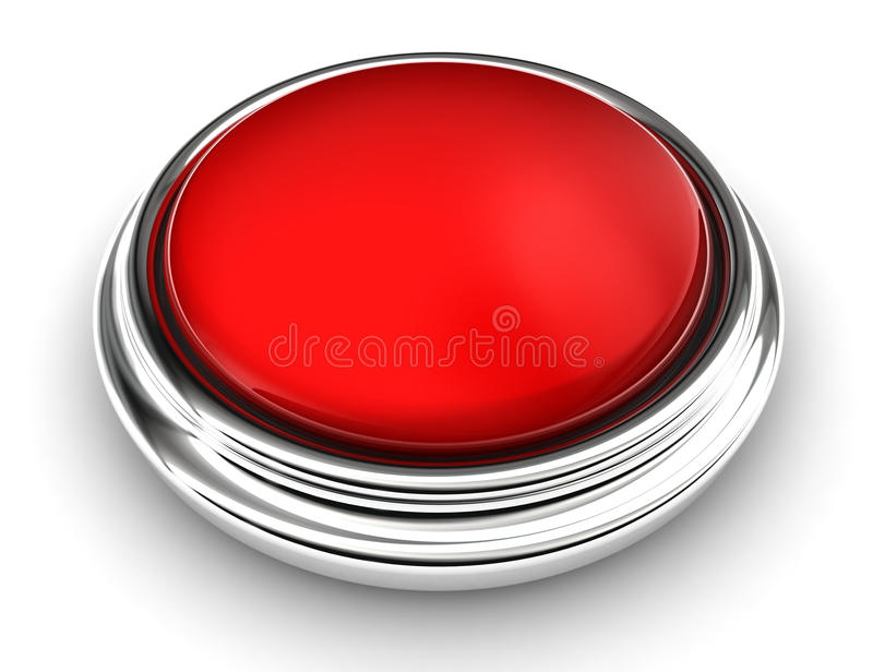 Empty red button on white background. Clipping path included stock illustration