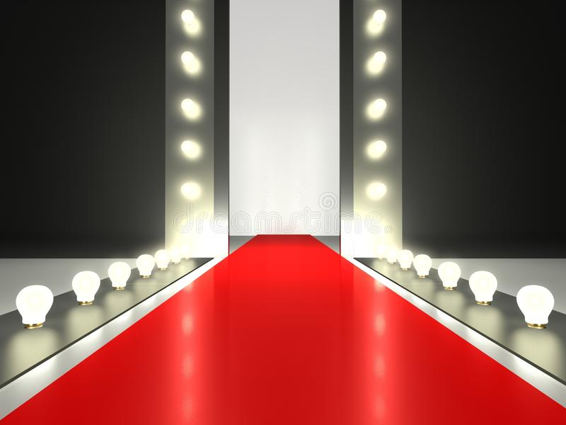 Empty red carpet, fashion runway illuminated. By glowing light vector illustration