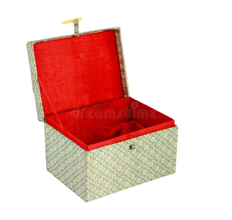 Empty red Chinese gift box isolate. On white background stock images