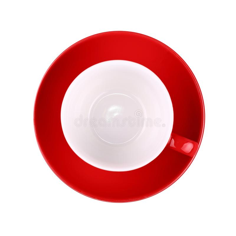 Empty red coffee or tea  cup isolated on white stock photo