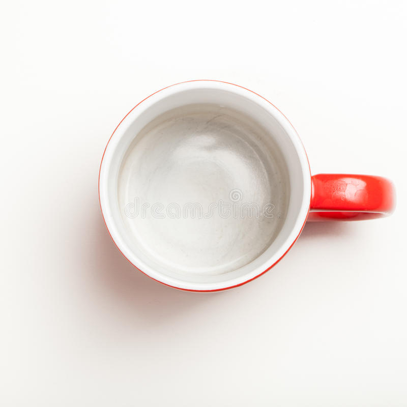 Empty Cup Top : Empty red coffee tea mug cup top view on white stock