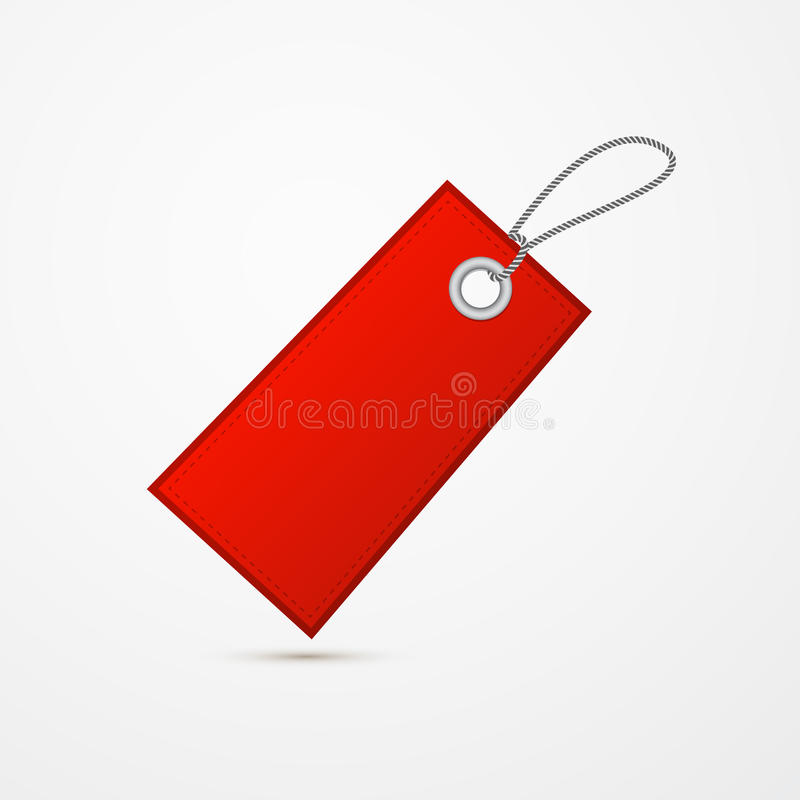 Empty Red Label, Tag With String. Isolated on White Background stock illustration