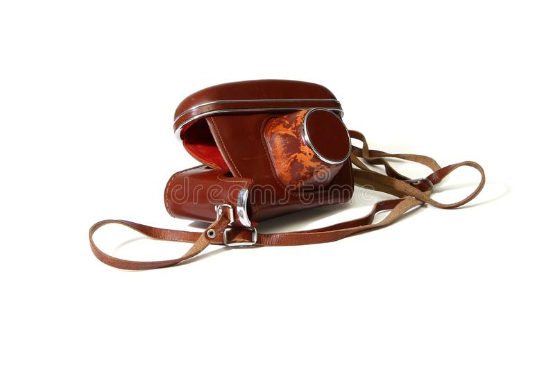 Empty Red Leather Case Of Vintage Photo Camera  Is Royalty Free Stock Photo