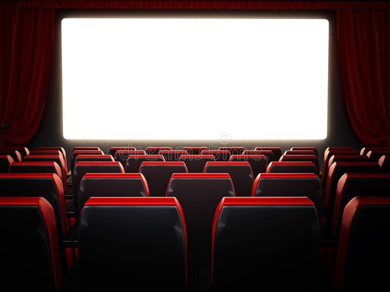 Empty red movie theater seats and blank cinema screen. 3D illustration vector illustration