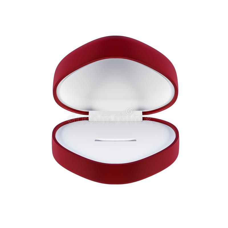 Empty red ring box isolated on white - 3D illustration royalty free illustration