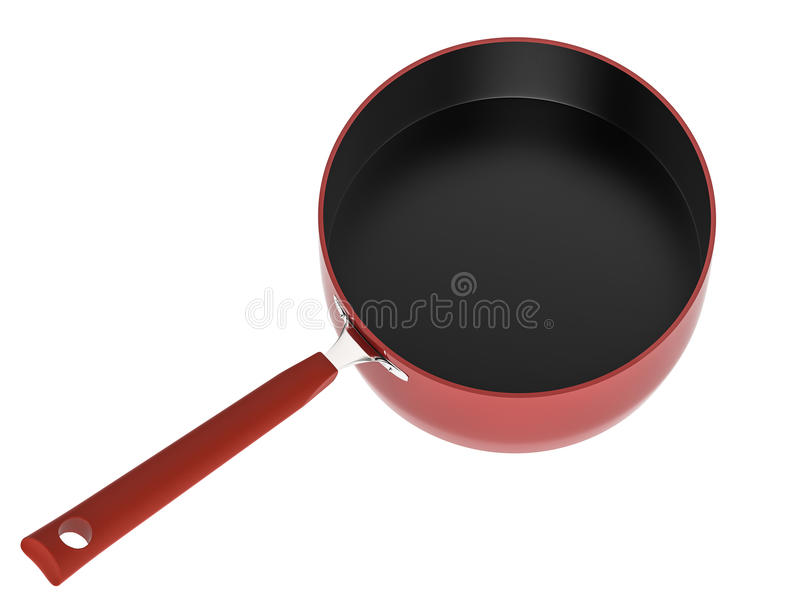Empty red saucepan. 3d rendering empty red saucepan isolated on white royalty free stock photos