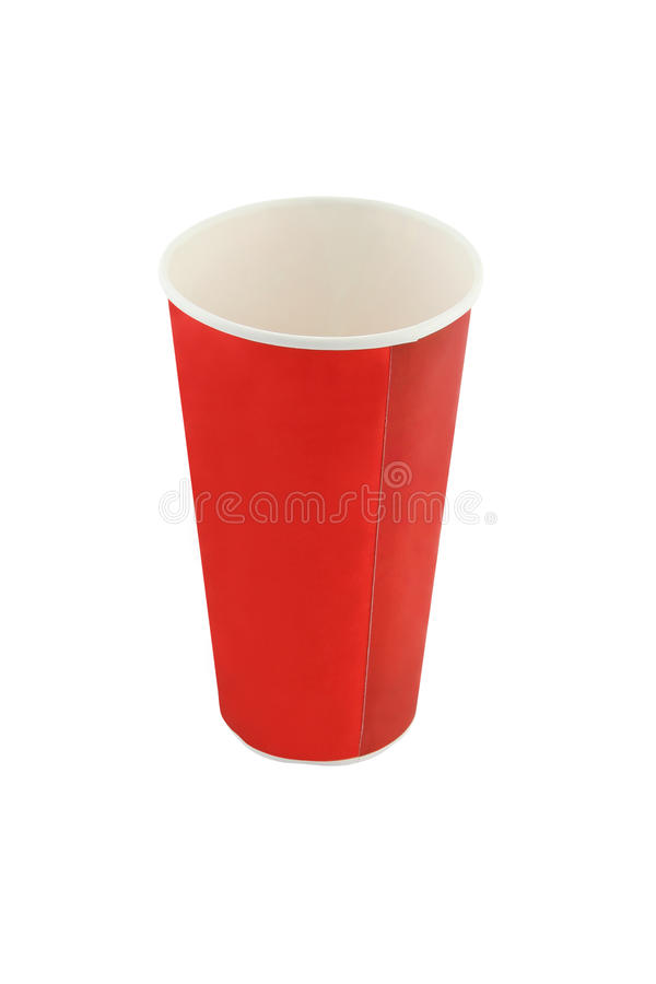 Empty red soda beverage paper cup. On white background royalty free stock images