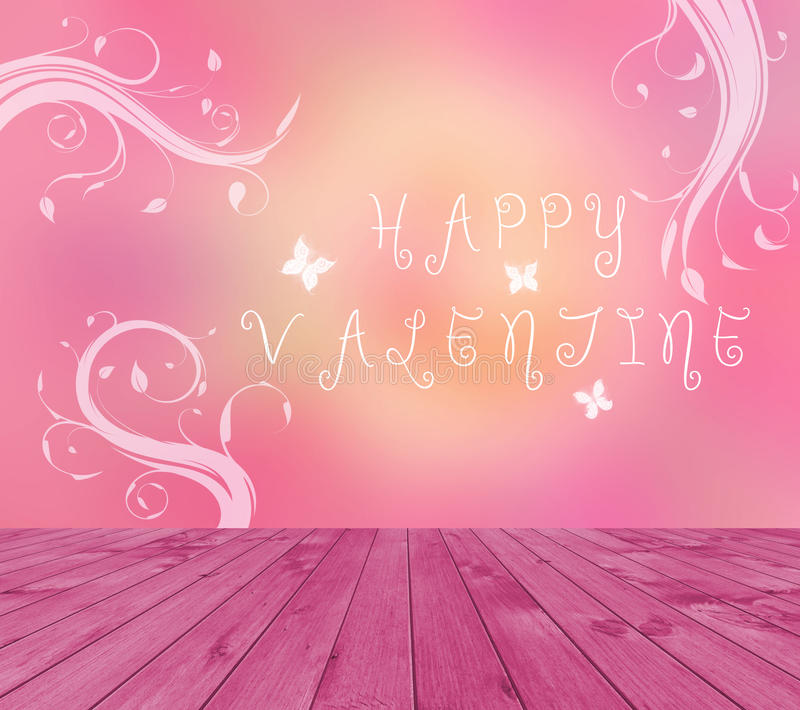 Empty red wooden deck table with Happy Valentine text written on pink background with butterfly and branches.. Ready for product d stock illustration