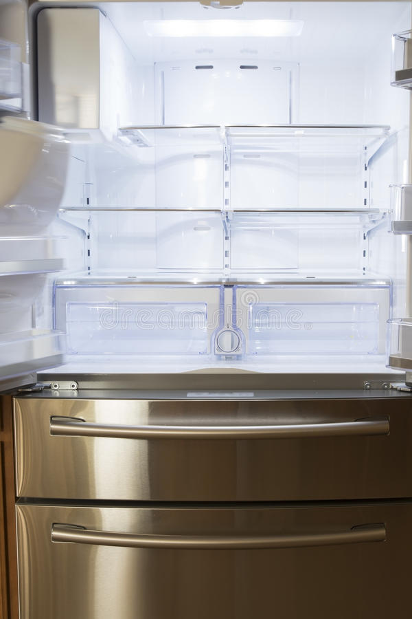 Empty refrigerator stock photo