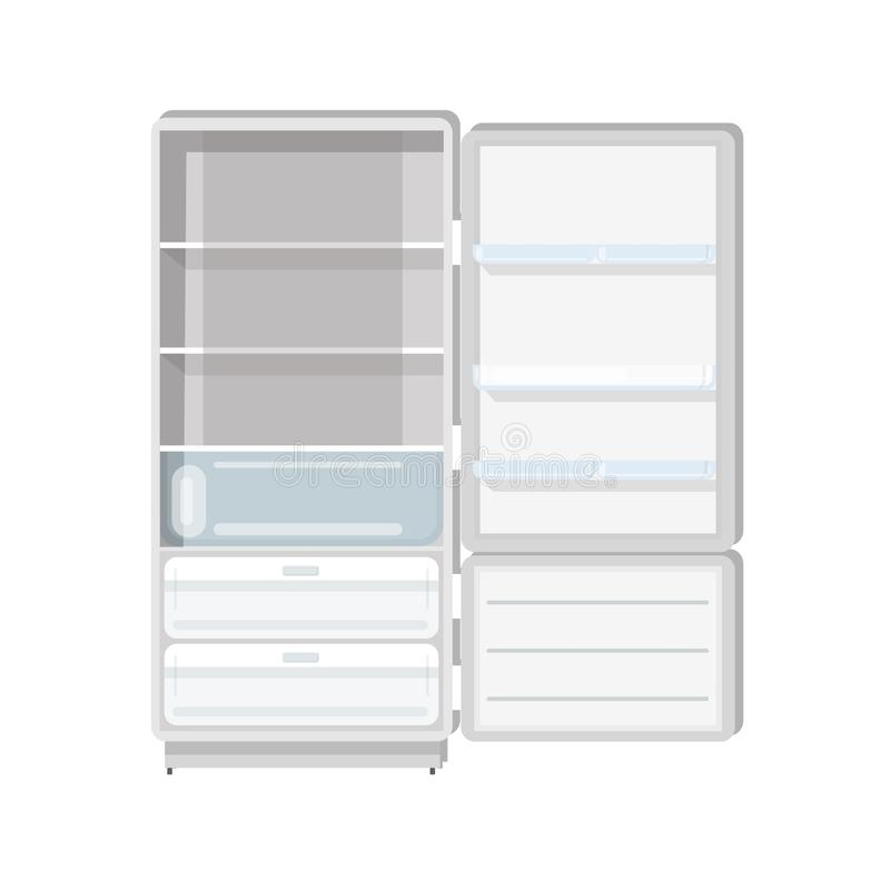 Empty refrigerator with opened door, shelves and trays isolated on white background. Fridge with freezer. Household or. Kitchen appliance for food cooling and stock illustration