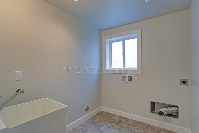 Empty renovated laundry room with white walls stock images