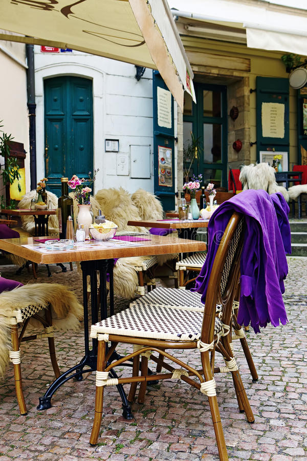 Empty restaurant chairs and tables in the Old Town of Prague, C royalty free stock photo