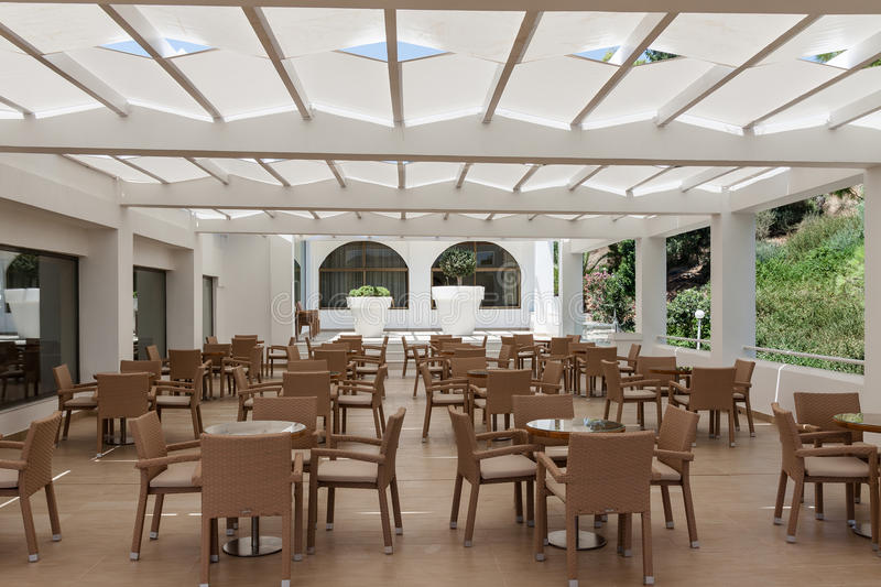 An empty restaurant. Empty restaurant in the hotel is all inclusive royalty free stock images