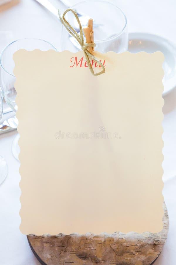 Empty Restaurant Menu Stock Image