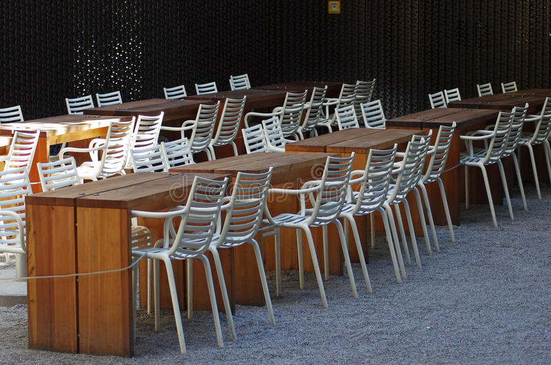 Empty restaurant tables and chairs. Munich, Germany stock images