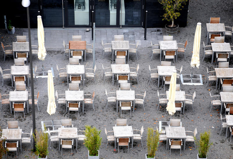 Empty restaurant top view royalty free stock photography