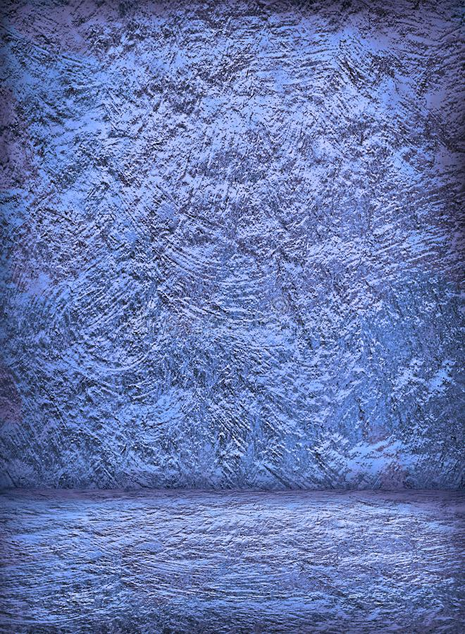 Empty retro blue stucco interior with concrete wall and floor for template stock images