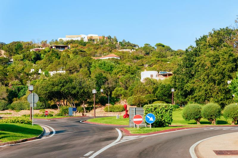 Empty road without cars at Porto Cervo stock photo