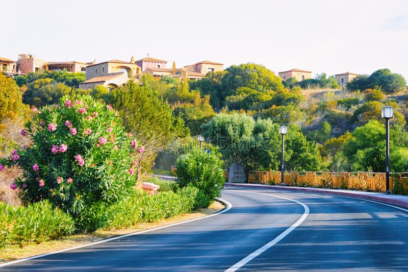 Empty road without cars in Porto Cervo royalty free stock photos