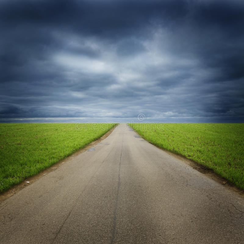 Empty road in countryside stock photo