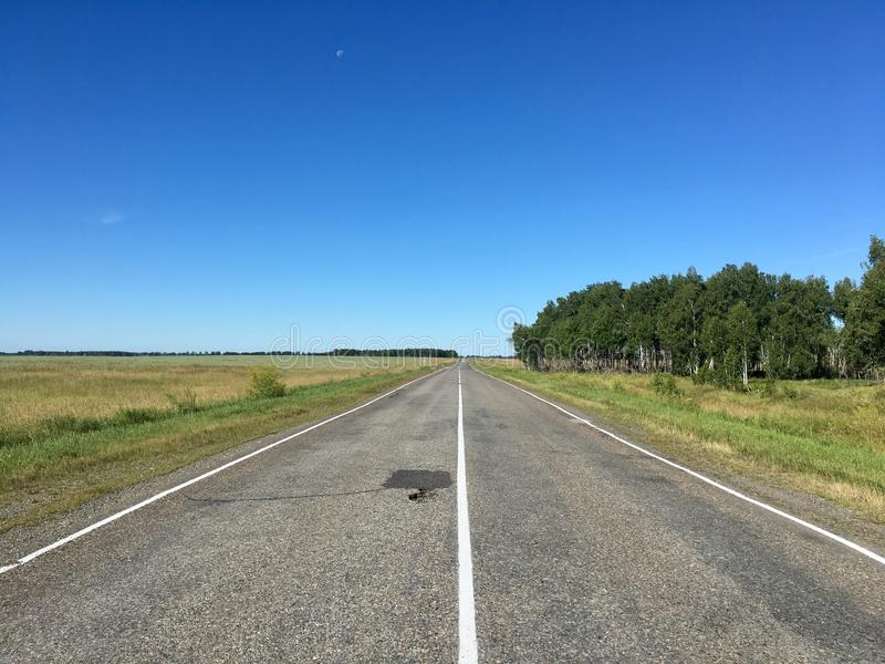 Empty road in the field. Empty road through the green field and forest. Clear blue sky, sunny day stock photography
