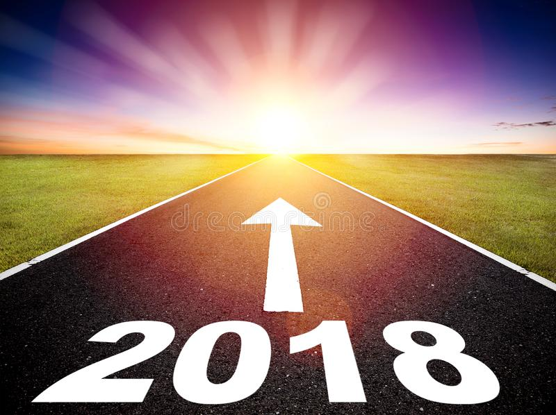 Download Empty Road And Happy New Year 2018 Concept Stock Image - Image of challenge, perspective: 101138391