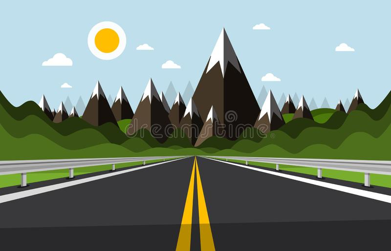 Empty Road with Mountains and Hills on Background. Sunny Day Cartoon with Highway. stock illustration