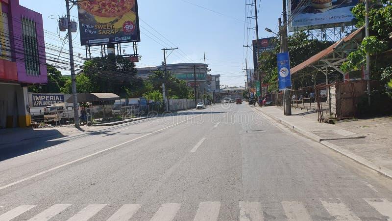 Empty Road op Sunday in Davao City, Filipijnen, Azië royalty-vrije stock foto