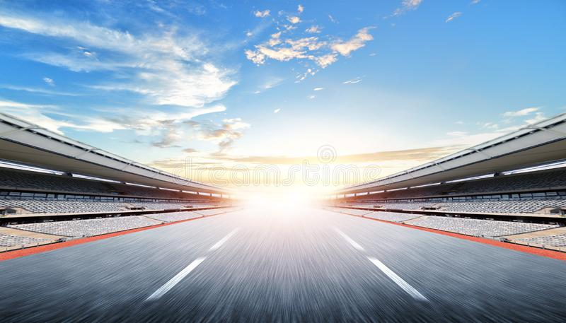 Empty road race and sky nature landscape.  royalty free stock image