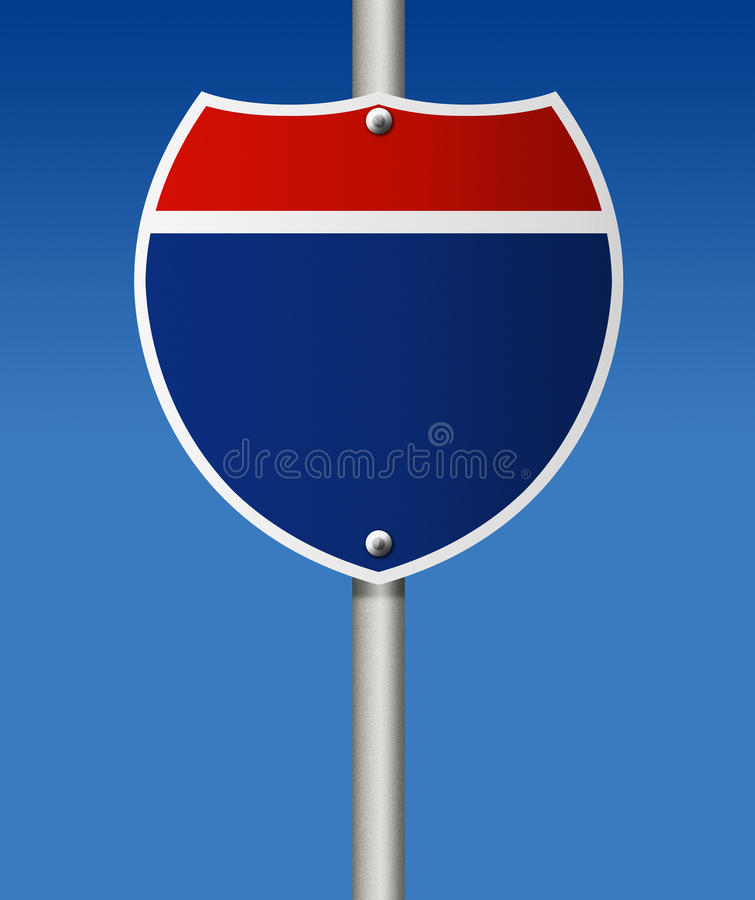 Empty road sign. Empty road sign on blue background stock illustration