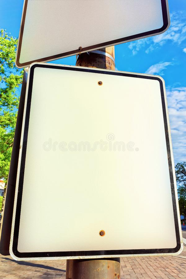 Empty road sign in street of Washington DC stock images