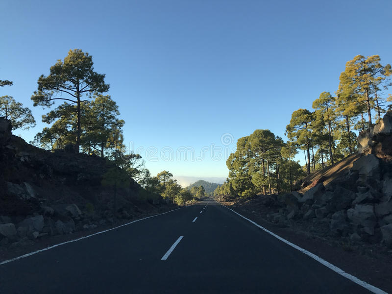 Empty road at Teide National Park. In Tenerife the Canary Islands royalty free stock photo
