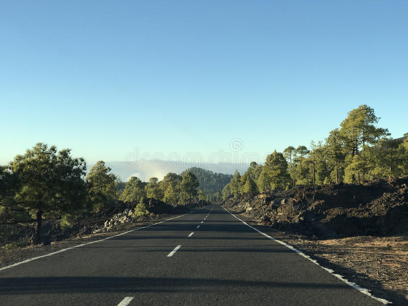 Empty road at Teide National Park. In Tenerife the Canary Islands royalty free stock image