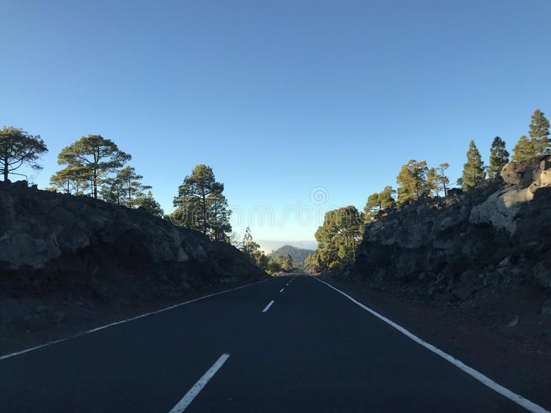 Empty road at Teide National Park. In Tenerife the Canary Islands stock image