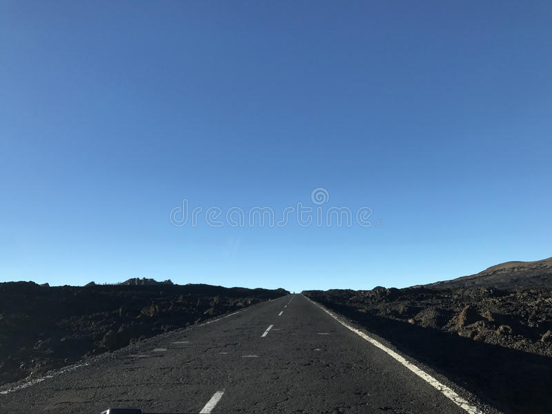 Empty road at Teide National Park. In Tenerife the Canary Islands stock photos