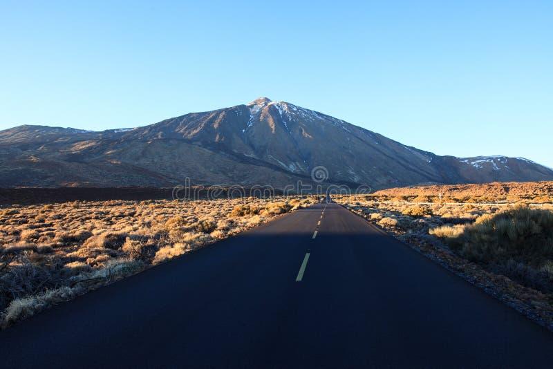 Empty road to Mount El Teide on Tenerife, Spain. stock photos