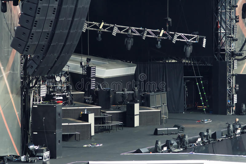 Empty rock concert stage royalty free stock photo