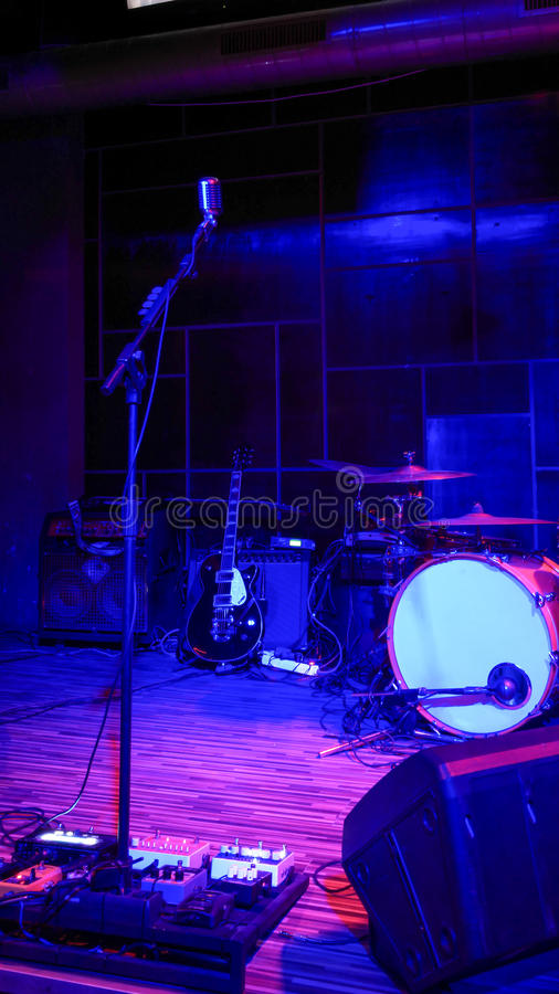 Empty Rock Concert Stage With Musical Instruments Stock ...