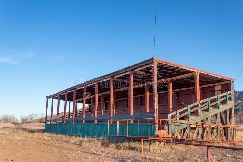 Empty rodeo viewing stand, winter desert, American Southwest. Horizontal aspect stock photo