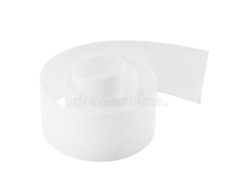 Empty of roll paper on isolated background with clipping path. White sticky tape or garbage stock illustration