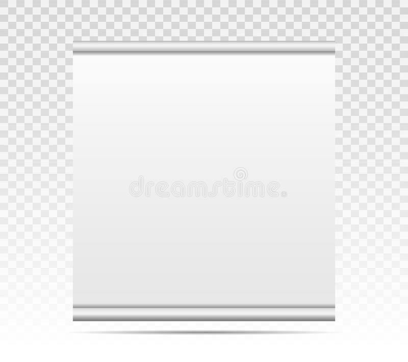 Empty roll up banner with paper canvas texture isolated on transparent background. Art design blank template mockup royalty free illustration