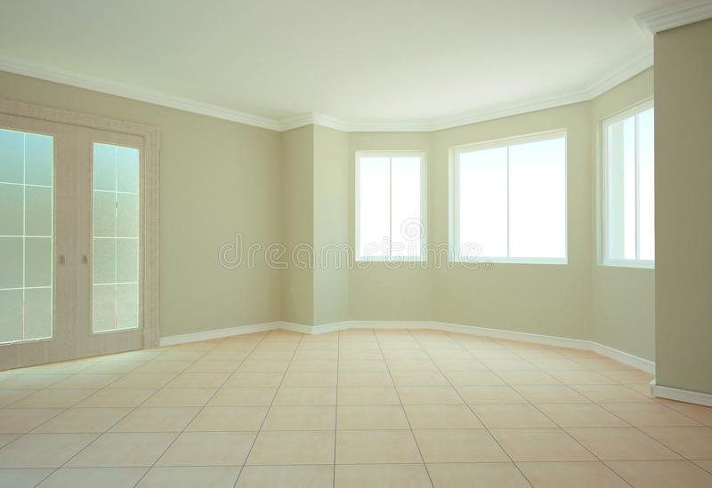 Empty room. Visualization of the interior of an empty room in the house royalty free stock images