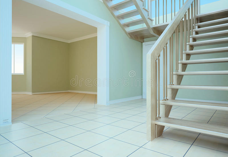 Empty room. Visualization of the interior of an empty room in the house royalty free stock photography