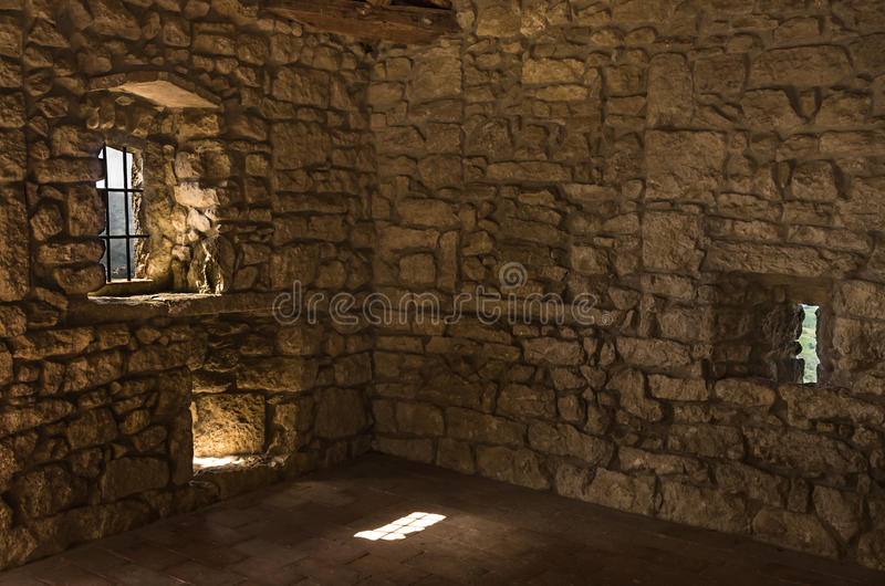 Empty Room in abandoned Castle stock photo