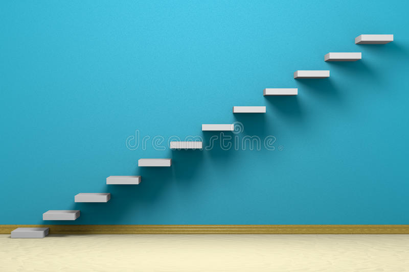 Empty room with ascending stairs. Blue rough wall, beige floor and plinth stock illustration