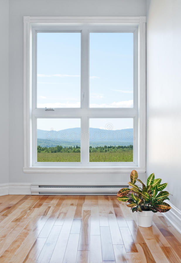 Empty room with beautiful view stock photos